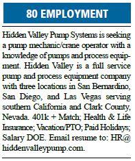 Hidden Valley Pump Systems Seeks Pump Mechanic/Crane Operator