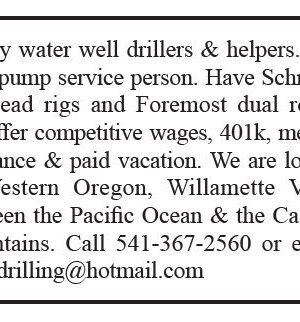 Need Rotary Water Well Drillers and Helpers