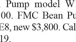 FMC Bean Pump model W1122 BCD, FMC Bean Pumps model L0918BCDE8,