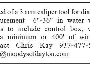 3 Arm Caliper Tool Needed for Diameter Measurement of 6 to 36 inches in Water Wells